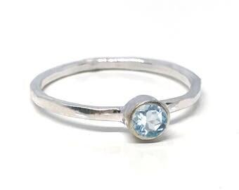 Blue Topaz Engagement Ring - Sky Blue Topaz Ring - Silver Stacking Ring - Light Blue Topaz Ring - Minimalist Ring - Bezel Set Gemstone Ring