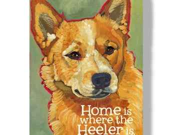 Australian Cattle Dog metal sign, indoor outdoor dog art, red heeler aussie cattle dog home decor, custom option with dog's name