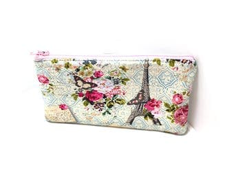 Cosmetic Case, Cord Case, Bridesmaid Gifts, All-Purpose Zipper Case, Paris and Roses 9047
