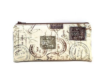 Cosmetic Case, Cord Case, Bridesmaid Gifts, All-Purpose Zipper Case, Tan and Brown Travel Stamps 9060