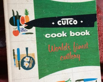 VINTAGE COOKBOOK CUTCO meats, knives , recipes, illistrations, collectible book, mid century, kitschy fun