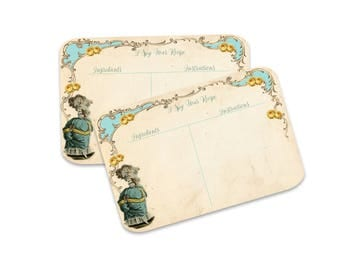 Bridal Shower Recipe Cards, I Spy Recipe Cards, Marie Antoinette, Turquoise and Yellow Rose recipe cards, Party Favor Recipe Cards