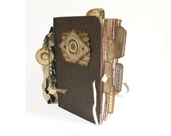 Unique Steampunk Travel Journal, Paris, London, New York, One of a Kind, Altered Book Travel Journal, European Travel Log, Gray Blue Brown