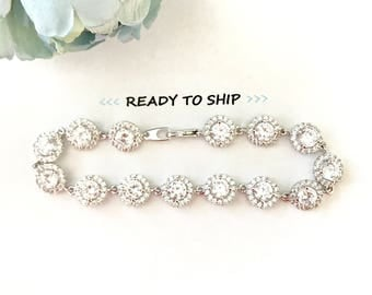 RTS Wedding Bracelet- Rhinestone CZ Cushion Cut Circle links, Bridal Jewelry, bridal bracelet, rhinestone bracelet round