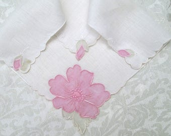Vintage Madeira Handkerchief Pink White Bridal Wedding Hankie Hand Embroidered Vintage Linens Floral Organdie Organdy Embroidery