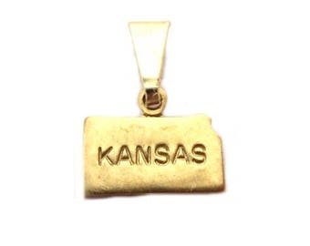 "Kansas State Necklace.  Raw Brass.  18"" Gold Chain. Tiny."