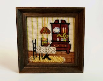 Vintage Kitschy Kitchen Framed Embroidery 1970s