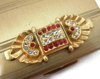 Art Deco Compact - Vintage Gold Clear Red Rhinestones Powder Compact