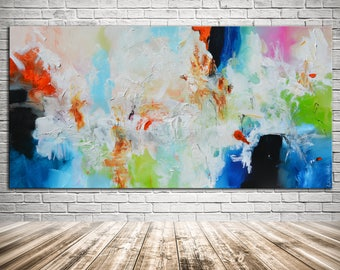 Blue white Abstract Painting, large original art Painting, blue red White painting, colorful abstract lobby office art, long modern painting