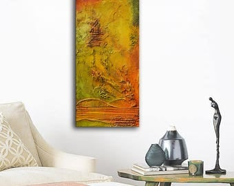Gold Abstract Painting on canvas, yellow green art, textured Earth tones, Orange painting, modern painting, original by andrada anghel