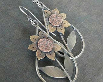 Rustic-Country-OOAK-Artisan- Sunflower- Dangle-HoopEarrings-Copper- Sterling Silver- Brass-Mixed Metal-Earrings.
