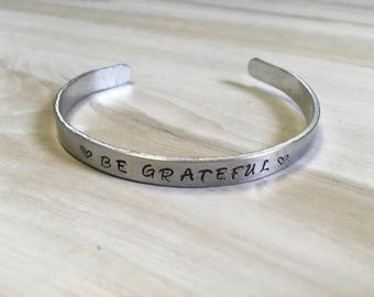 Reminder Bracelets, Be Grateful, Goal Setting, Bible Quote Jewelry, Thin Inspirational Cuff Bracelet, Silver Aluminum Bracelet, Hand stamp