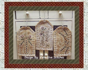 Snow Angel Tag Collection-Primitive Stitchery-E-PATTERN by Primitive Stitches-Instant Download