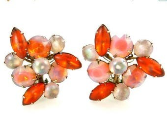 Vintage Orange & Vanilla Givre Rhinestone Clip Earrings
