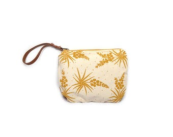 wristlet clutch • succulent cactus zipper clutch - wrist strap • hand printed yucca print - waxed canvas - mustard yellow • large clutch