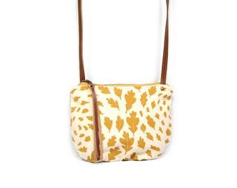 date purse  • small crossbody bag • mustard yellow leaf print - fall leaves print - screenprinted canvas - waxed canvas