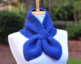 Hand Knit Keyhole Scarf in Colonial Blue,The Original Stay Put Scarf, Pull Through Keyhole Scarf, Women's Knitted Scarf, Winter Scarf, Vegan
