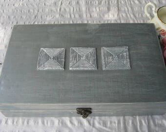 Tea box Silver Shabby Chic Home Decor / Tea bag box, wooden tea box