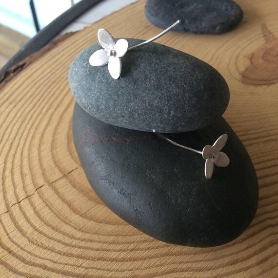 Sterling Silver Flower & Stem Earrings Shorter-Length