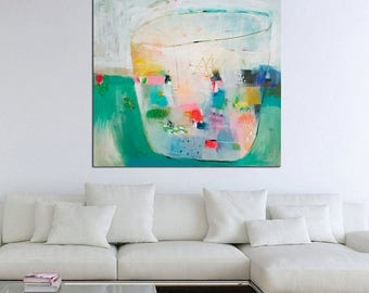 15% OFF Large abstract art, original painting, large wall art, turquoise, modern art, interior,  40 x 40, wall hanging, happiness art, peace