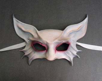 Bat or Cat or Animal Creature Leather Mask in Spooky Grey with Red around Eyes