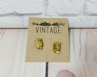 Vintage Gold Toned Indian Head Cuff Links