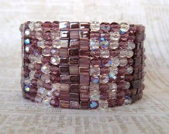 Lavender and Mauve Beaded Cuff, Wide Plum Beadwoven Bracelet, Sparkling Beaded Bracelet, Statement Jewelry