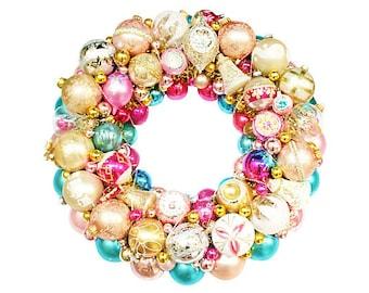 Ornament Wreath, vintage ornament wreath, Aqua Ornament Wreath,  Pink ornament wreath, glass ornament wreath, christmas wreath,
