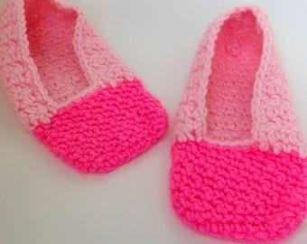 Womens Pink Slippers, Crochet Slippers, Handmade Slippers