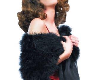 Promo Sale: Black Marabou Wrap (with detachable scarves)
