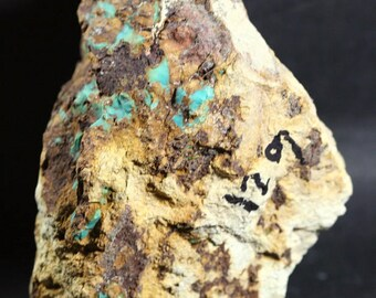 """Old Stock Churchill County Nevada Boulder Turquoise Rough 4""""X3.5""""X3"""""""
