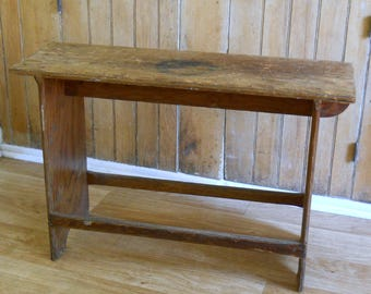 Primitive Vintage Plywood Bench • Seat Coffee Table • Michigan State Highway No. 1