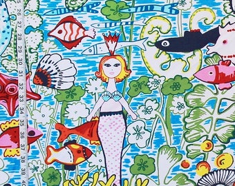 Mermaid fabric princess ocean funky interior home decorating material cotton 45 inches