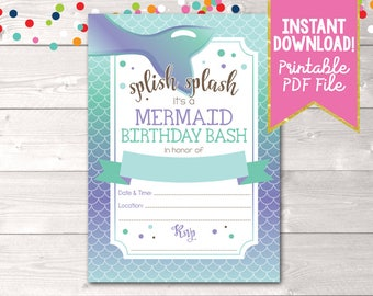 Instant Download Girls Birthday Party Invitation, Printable Mermaid Party Birthday Party Invitation