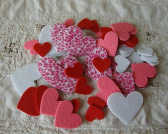 Felt heart stickers favors felties valentines day crafts supplies 66pcs red white pink fabric hearts embellishments kids crafts supplies