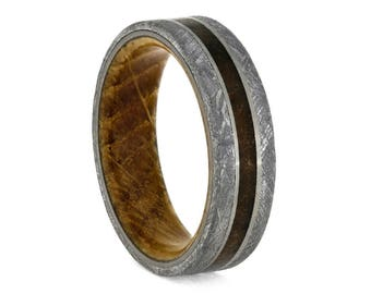 Fossil Wedding Band With Meteorite, Whiskey Barrel Wood Sleeve Ring, Masculine Ring With Petrified Wood