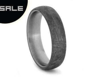 SALE - Gibeon Meteorite Ring With Titanium, Rare Gibeon Meteorite, Masculine Mens Wedding Band With Meteorite Overlay
