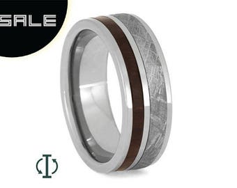 SALE - Interchangeable Ring, Meteorite Wedding Band With Bolivian Rosewood, Adjustable Wood Ring