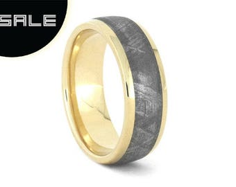 SALE - Gibeon Meteorite Wedding Band, 10k Yellow Gold Ring For Men, Handmade Outer Space Jewelry