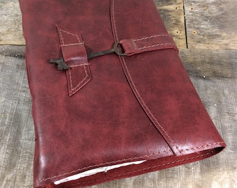 LG red leather journal / skeleton key closure/ sketchbook with handmade cotton rag paper/ suitable for watercolor