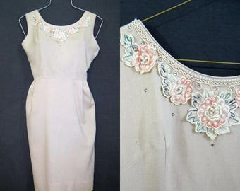 REDUCED 50s 60s Dress Vintage Wiggle Dress Rhinestones Pearls Floral Summer Linen M