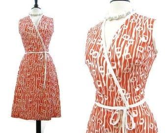 REDUCED Vintage 70s Wrap Dress Orange White Crossover Surplice A line Summer Dress M