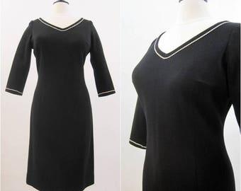 REDUCED 60s Dress Vintage Rhinestone Trim Knit Wiggle Cocktail LBD L