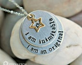 """Hamilton """"I'm Inimitable I'm an Original"""" Hand stamped Personalized Necklace - Hamilfan Gift - Actor Gift - Unisex - 2017 Holiday Bestseller"""