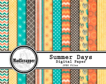 Digital Scrapbook Paper Summer Days Distressed Patterns Digital Paper 12 Patterns 4 Solids 12 x 12 Instant Download