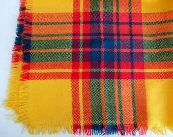 Yellow and Plaid Scarf - 1970s Woven Square Scarf in Bright Cheerful Colours
