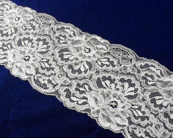 Vintage Wide White Floral Lace Insertion 2.75 yd (2.53 m) x 5 in. (12.8 cm) L5