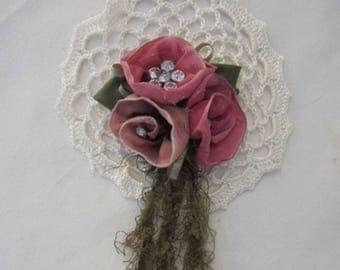 Coral PINK Ombre Wired Ribbon Flower Hand Crocheted Applique Beaded w Rhinestone w Green Leaf Leaves