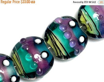 ON SALE 35% OFF New! 11008712 Four Begonia Stripes Lentil Beads - Handmade Glass Lampwork Beads
