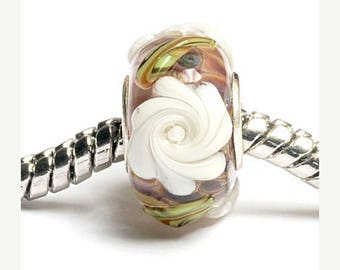 ON SALE 35% OFF Glass Lampwork Beads - Large Hole Brown w/White Flower Rondelle Bead  - Sc10060